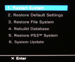 PS3 Recovery Menu
